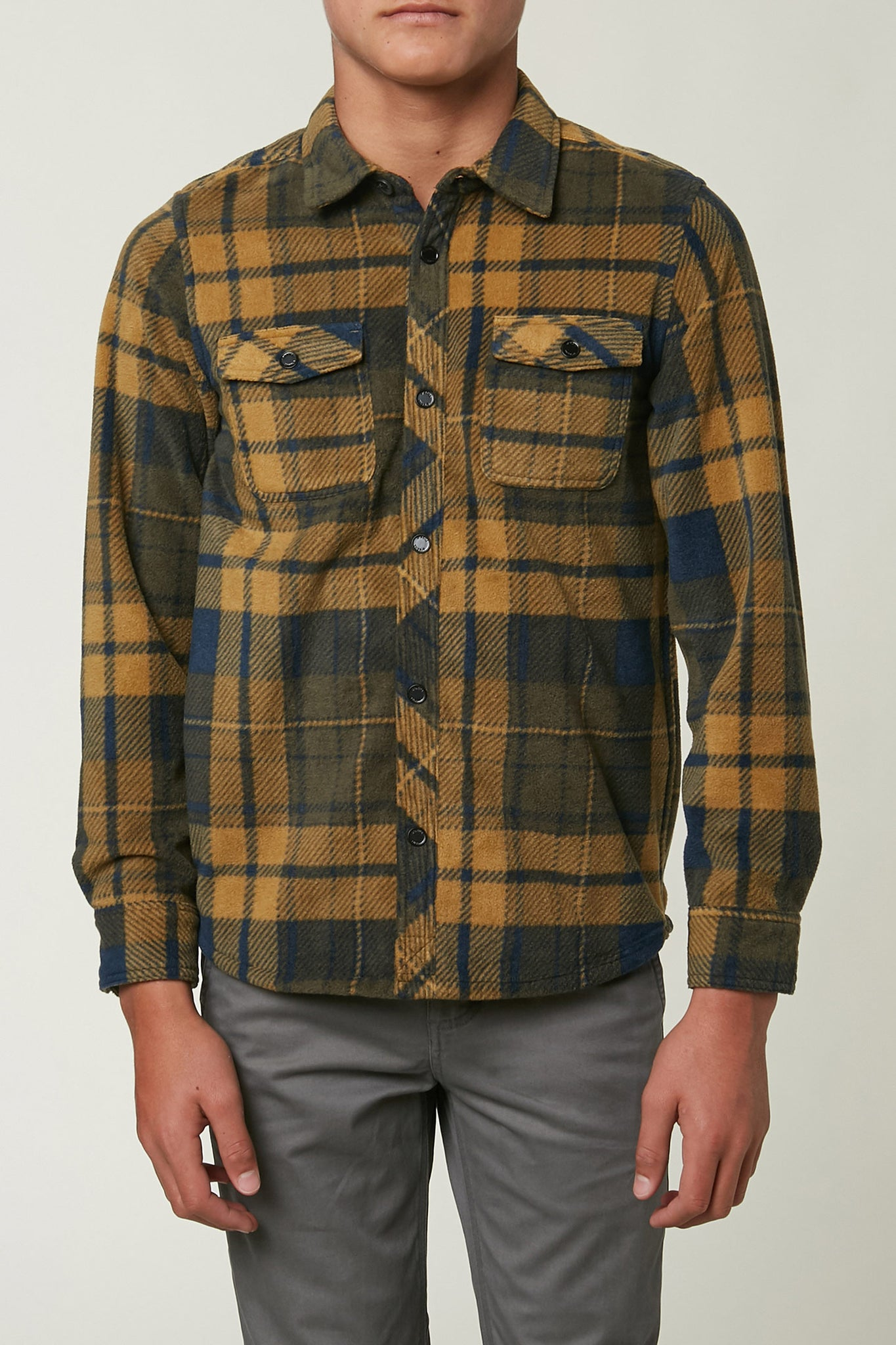 Boys Glacier Plaid Superfleece Flannel - Navy | O'Neill