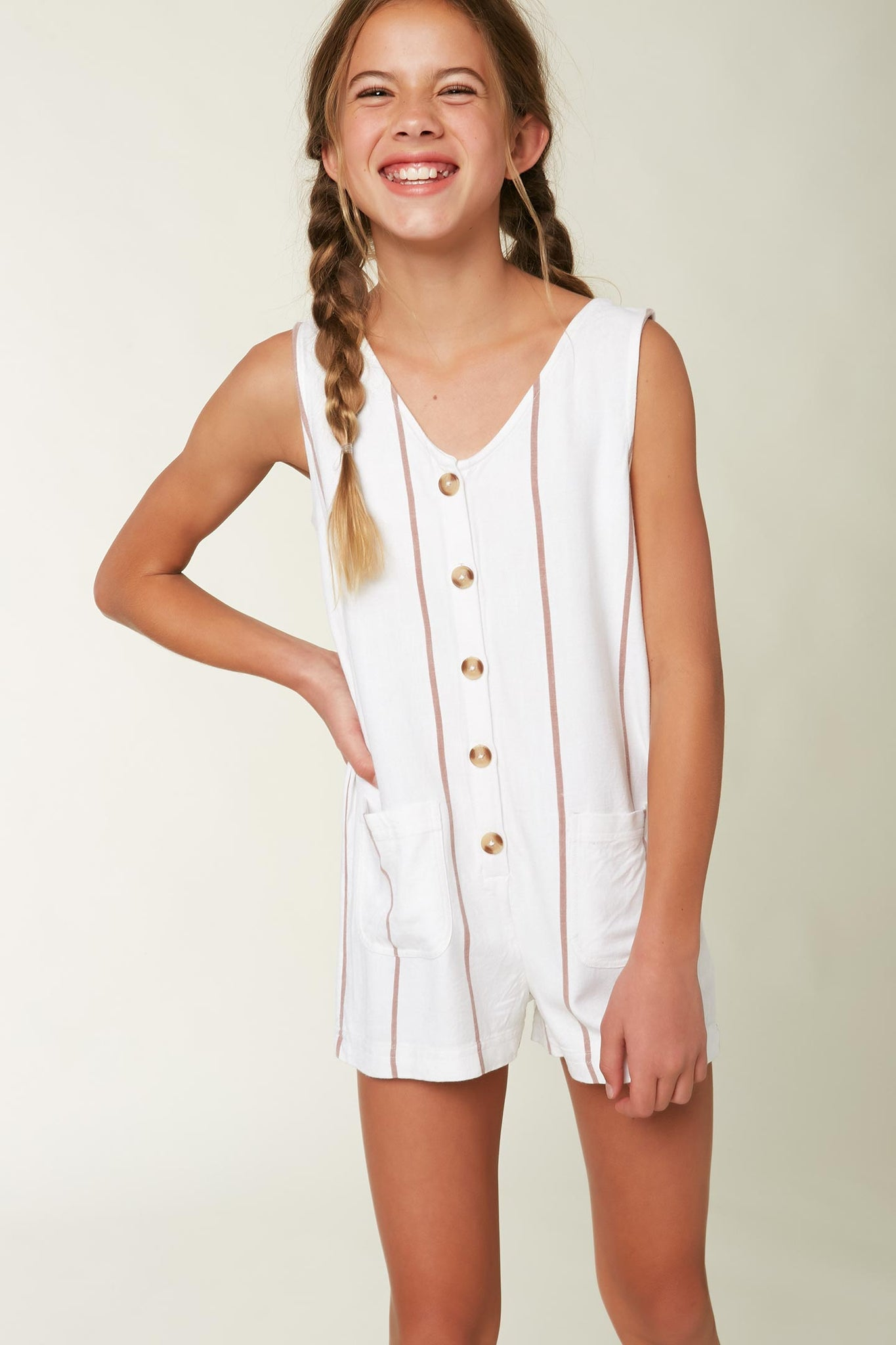 Girls Immie Romper - Bright White | O'Neill