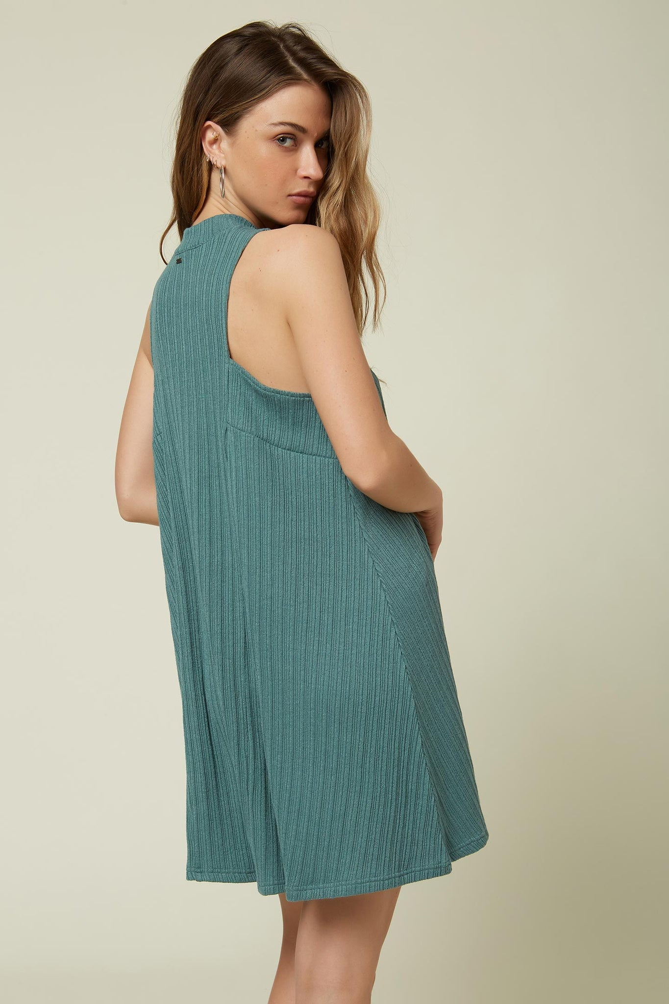 Leslie Solid Rib Knit Dress - Washed Spruce | O'Neill