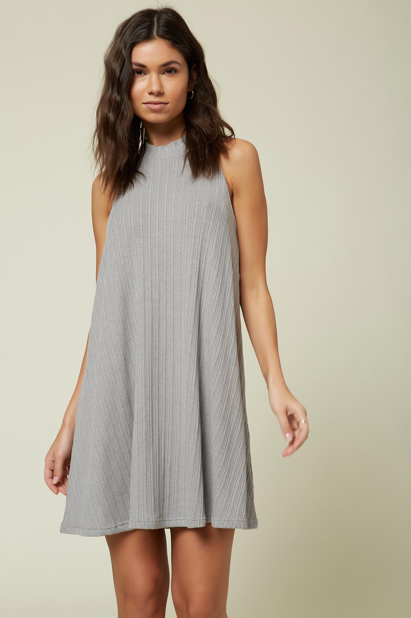 Leslie Solid Rib Knit Dress - Heather Grey | O'Neill