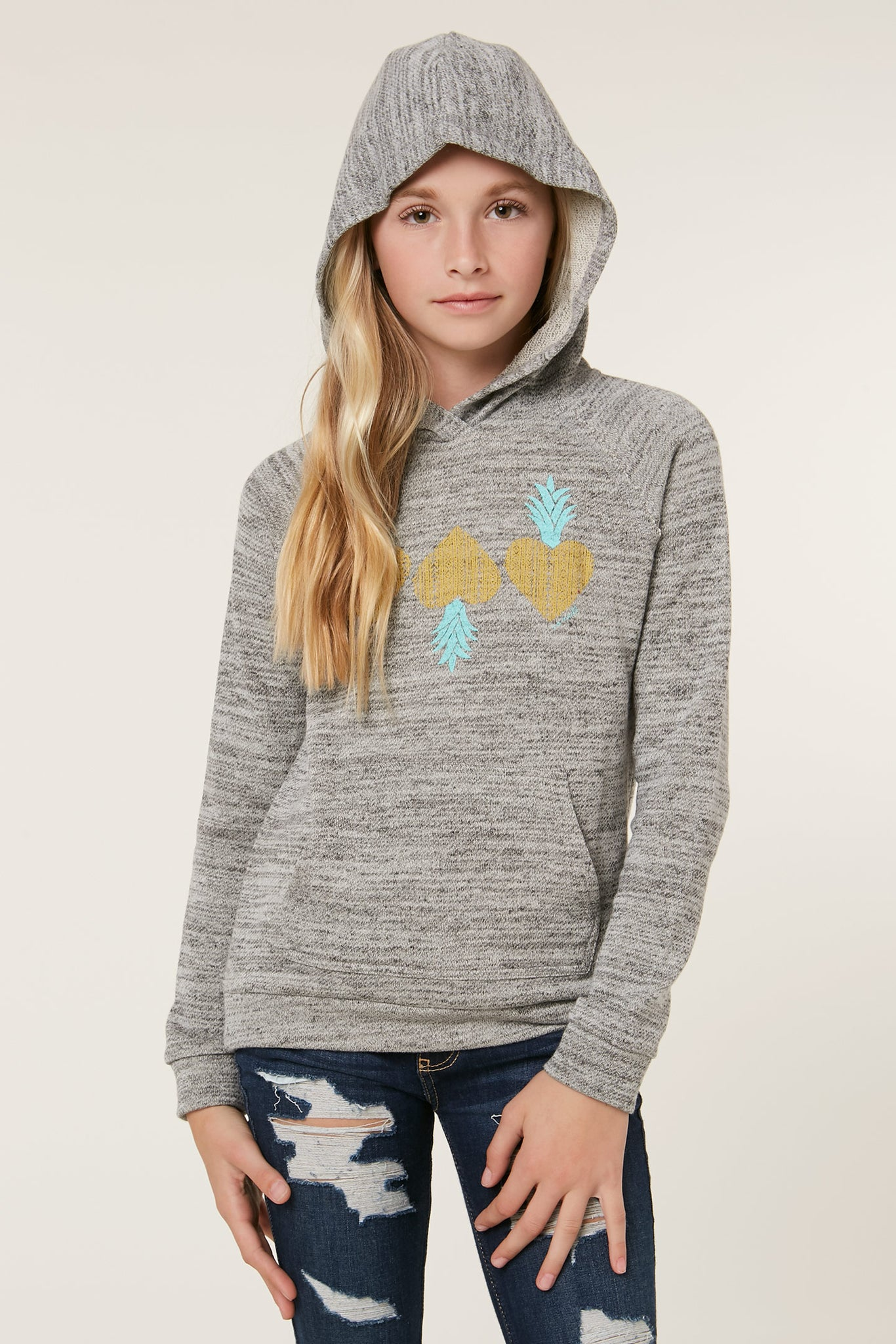 Girls Mini Pineapple Hoodie - Heather Grey | O'Neill