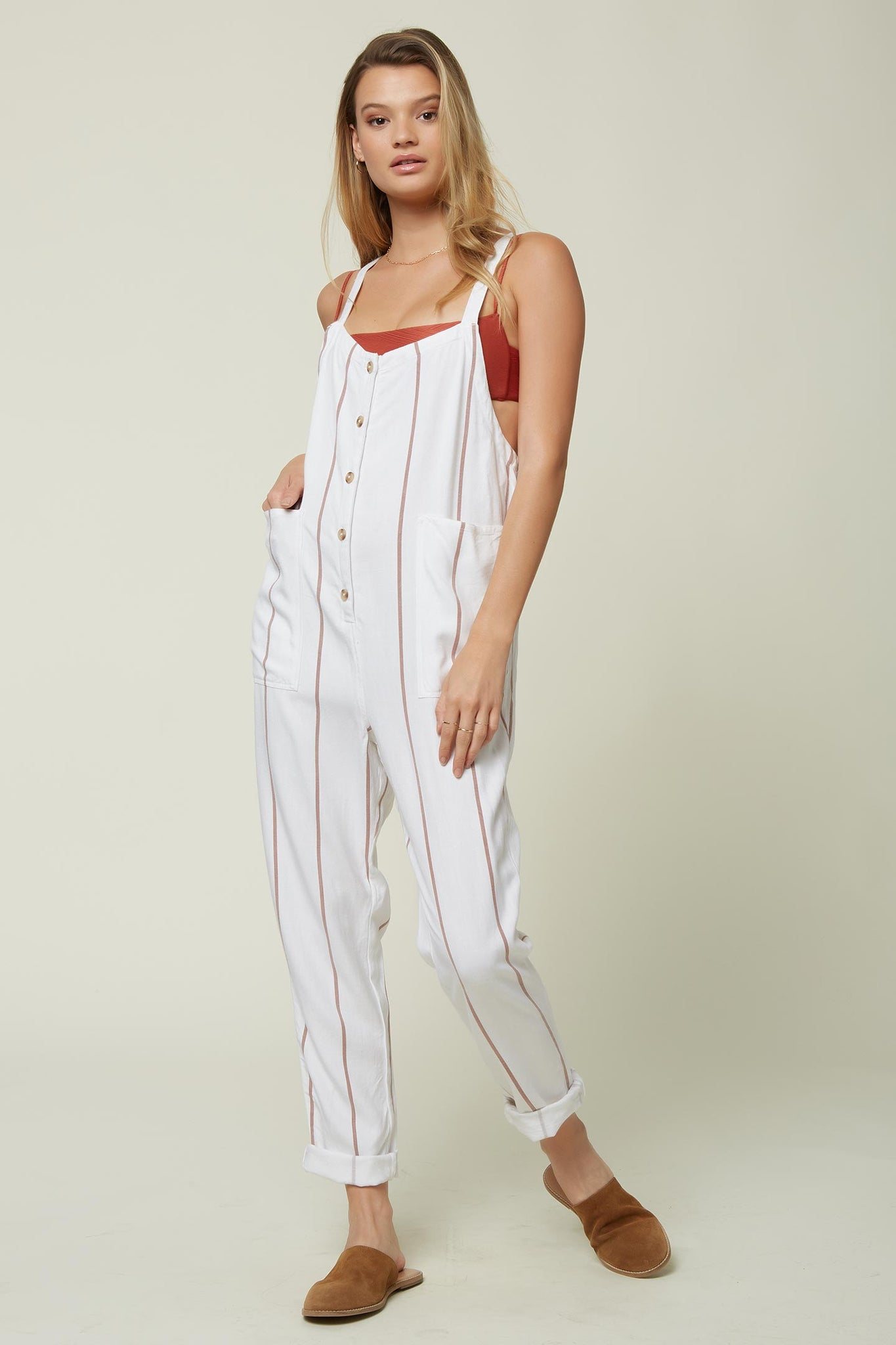 Pacey Stripe Jumpsuit - Bright White | O'Neill
