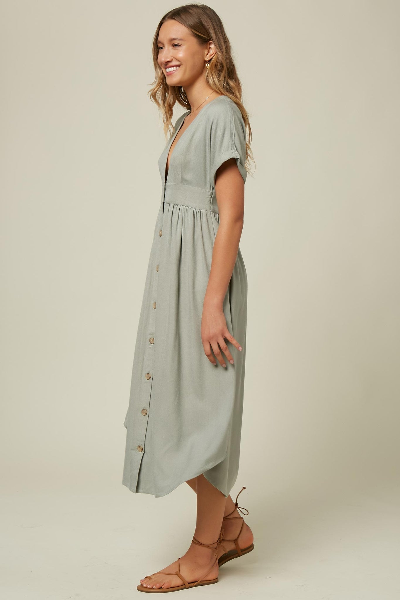 Reid Solid Dress - Washed Green | O'Neill