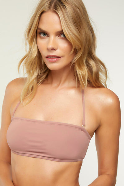 SALT WATER SOLIDS BANDEAU TOP