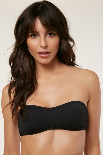 SALT WATER SOLIDS LACE UP BANDEAU TOP