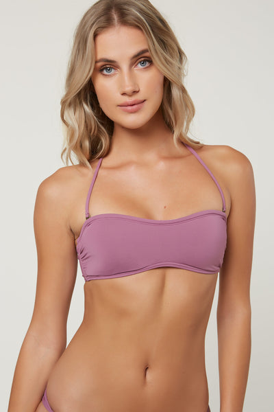 SALT WATER SOLIDS LACE UP BACK BANDEAU