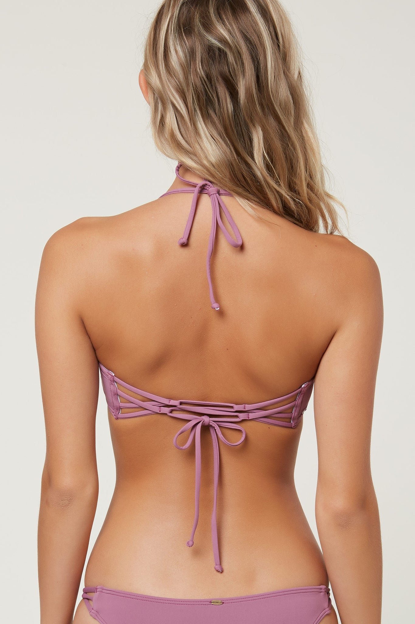 SALTWATER SOLIDS LACE UP BACK BANDEAU