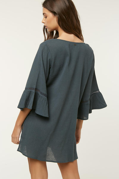 SALT WATER SOLIDS LONG SLEEVE DRESS COVER UP