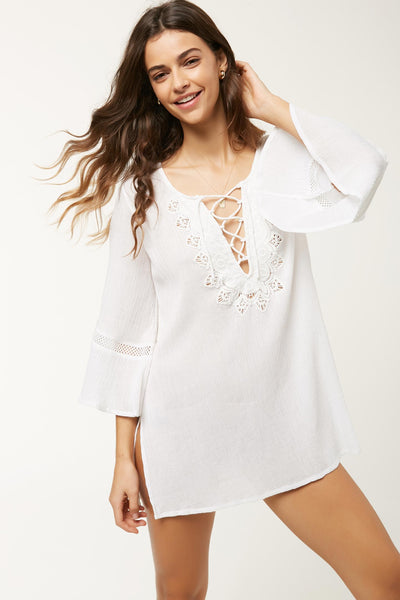 SALT WATER SOLIDS LONG SLEEVE DRESS COVER-UP