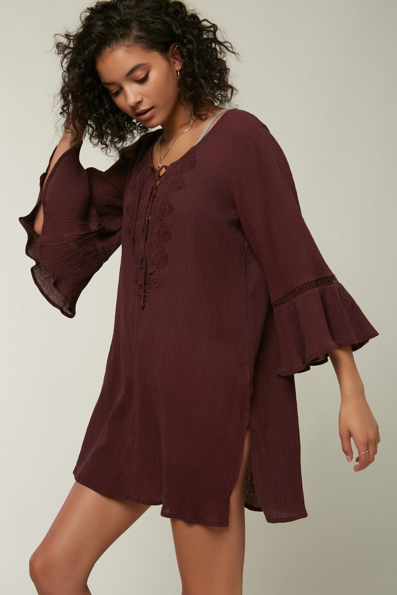 Saltwater Solids Long Sleeve Cover-Up - Wine | O'Neill