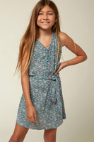 Girls Button Closure Self Tie General Print Viscose Tank Dress