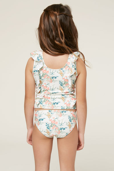 LITTLE GIRLS SUNDAY FLORAL CROP TOP SWIM SET