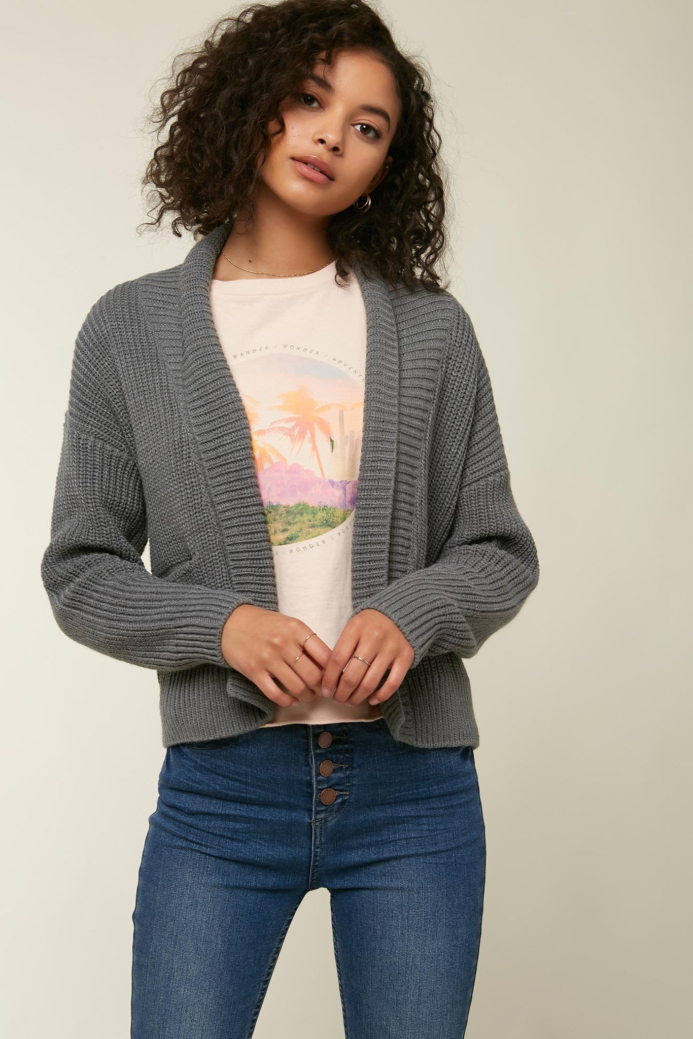 Anchor Cardigan Sweater - Charcoal | O'Neill
