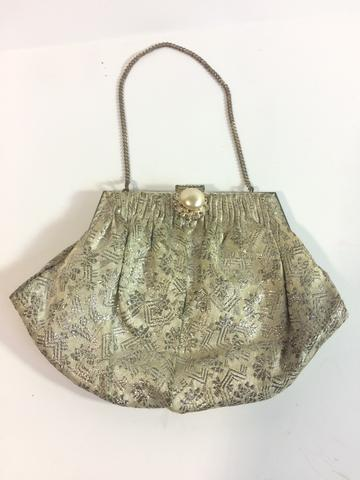 FRENCH VINTAGE METALLIC EMBROIDERY EVENING CLUTCH