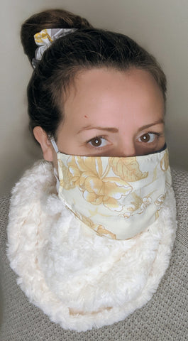 Cream Fuzzy Rosette Yellow Floral Upcycled Cozy Knit Scarf Mask with Matching Scrunchie