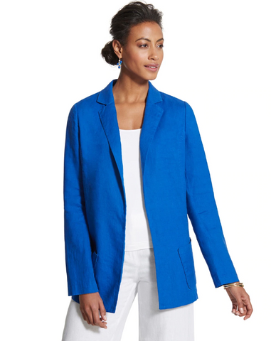 Chico's Blue Linen Relaxed Open Blazer