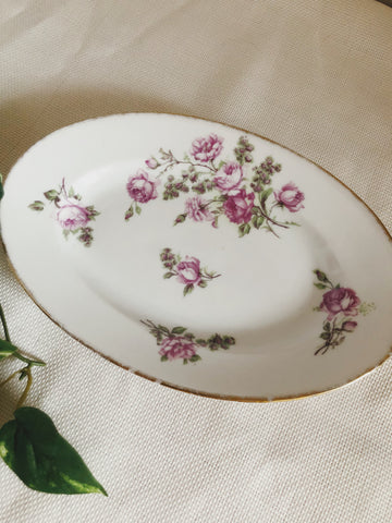 Large French Vintage Purple Floral Dish with Gold Edge
