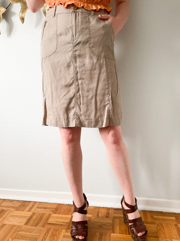 MEXX Taupe Soft 100% Lyocell High Waist Safari Skirt - Size 6
