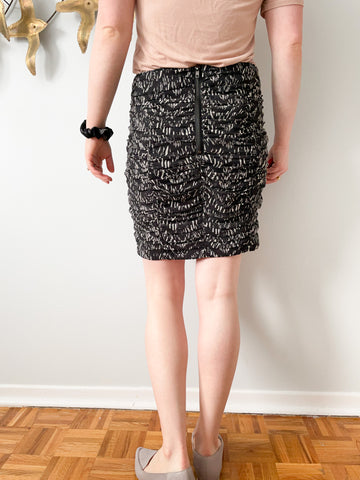 Dynamite Rouched Black & White Mini Pencil Skirt - Size 9
