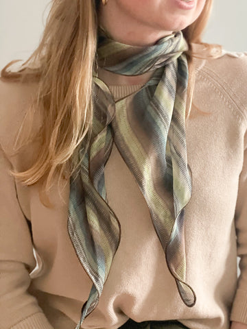 Olive Green Wavy Semi Sheer Scarf