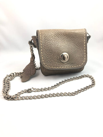 Roots Grey Leather Cross Body Bag with Chain Strap - Le Prix Fashion & Consulting