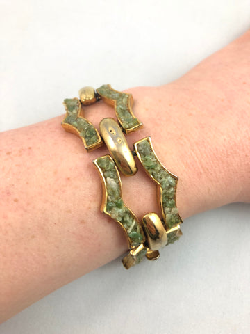 Vintage Green Stone Gold Bracelet - Le Prix Fashion & Consulting