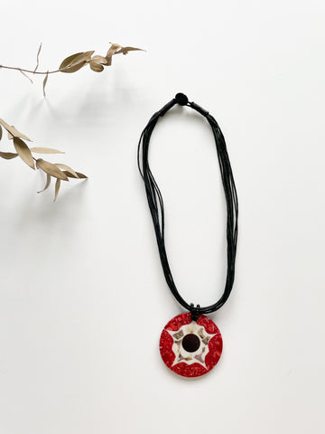 Black Cord & Red with Mother of Pearl Medallion Necklace