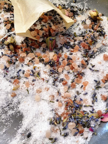 Duo Sampler of Locally Made Bath Salts with Dried Flowers & Essential Oils