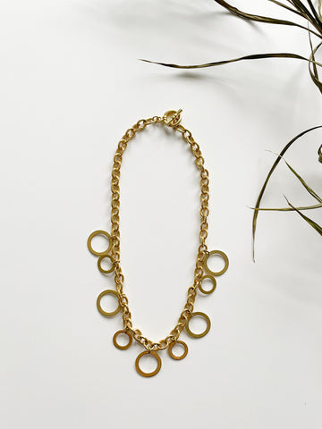 Gold Chain Circle Statement Necklace