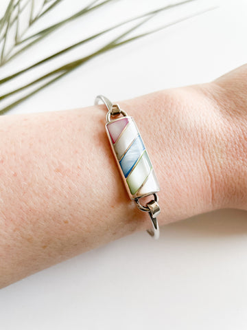 Sterling Silver Pastel Mother Of Pearl Stripe Bracelet