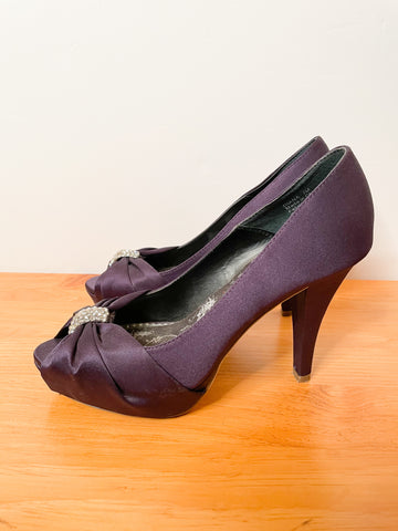 Michela Deep Purple Satin Bejeweled Peeptoe Heels - Size 7