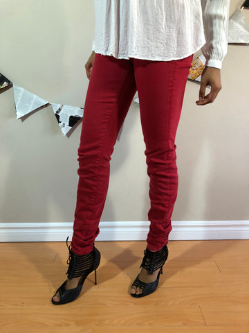 Red Mid Rise Skinny Ankle Pants