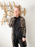 Melanie Lyne Taupe & Black Knit Open Front Long Cardigan - XS/S