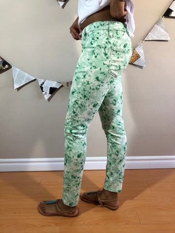 Jenn Green Patterned Slim Pants