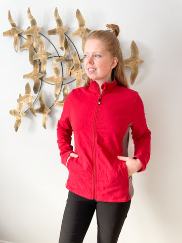 Roots Red Full Zip High Collar Jacket Sweater - Medium