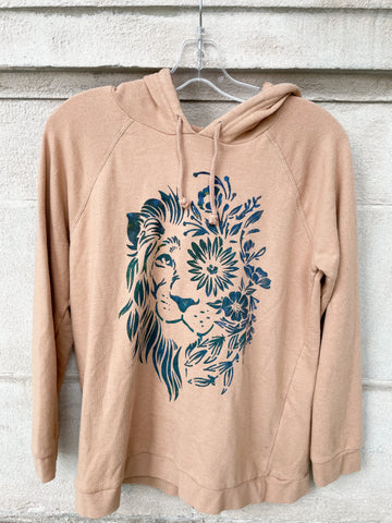 Sand Beige Cozy Terry Cloth Lion Upcycled Hoodie Sweater - M/L