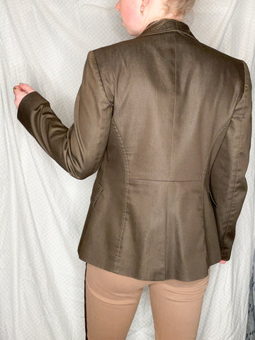 Tristan & Iseut Dark Brown Made in Canada Basic Blazer - Size 8