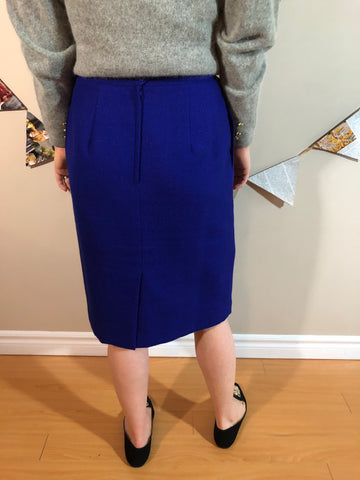 Vintage Atrium Petite Cobalt Blue Pencil Skirt