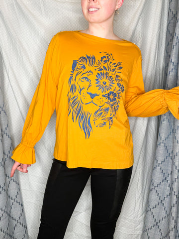 Ralph Lauren Upcycled Mustard Yellow Lion Cotton Modal Ruffle Sleeve Top - XL