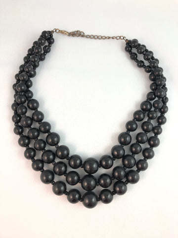 Chateau Black Bead Statement Necklace - Le Prix Fashion & Consulting