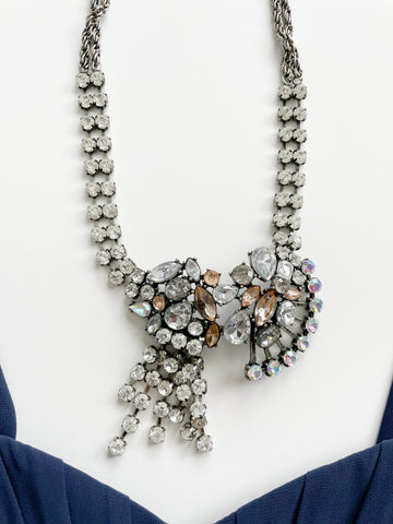Banana Republic Pewter Crystal Bridgerton Statement Necklace