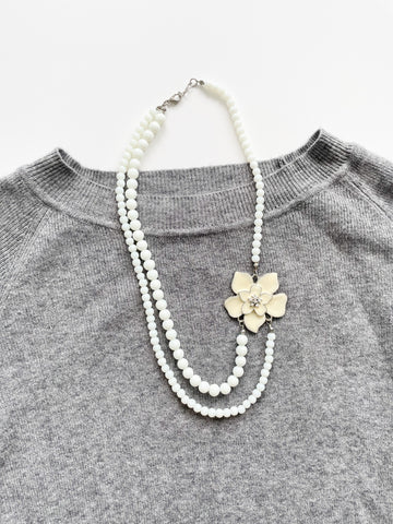White Bead Flower Necklace
