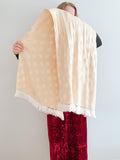 Cream Polka Dot Satin Silk Fringe Scarf