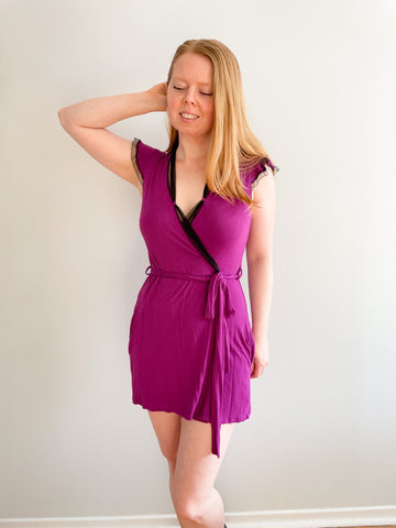 Designer Purple & Black Detailed Mini Jersey Wrap Robe Dress - XS/S