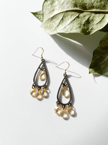 14K Gold & Antique Style Yellow Crystal Teardrop Chandelier Earrings