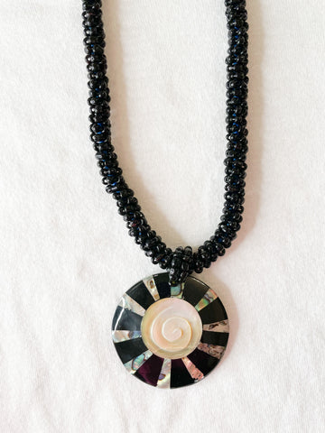 Black Beaded Shell Medallion Necklace