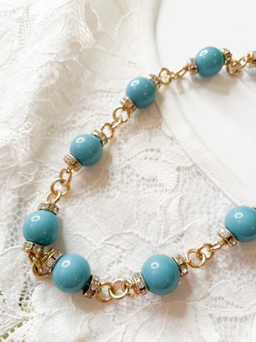 Turquoise Bead and Gold Sparkle Necklace
