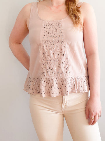 American Eagle Blush Sequin Ruffle Hem Sleeveless Top - XS
