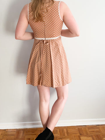 Tan Polkadot White Trimmed Fit & Flare Sleeveless Dress - XS/S