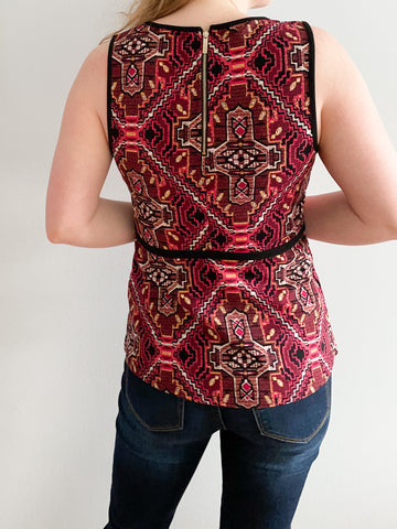 Dynamite Red Graphic Peplum Sleeveless Top - Medium
